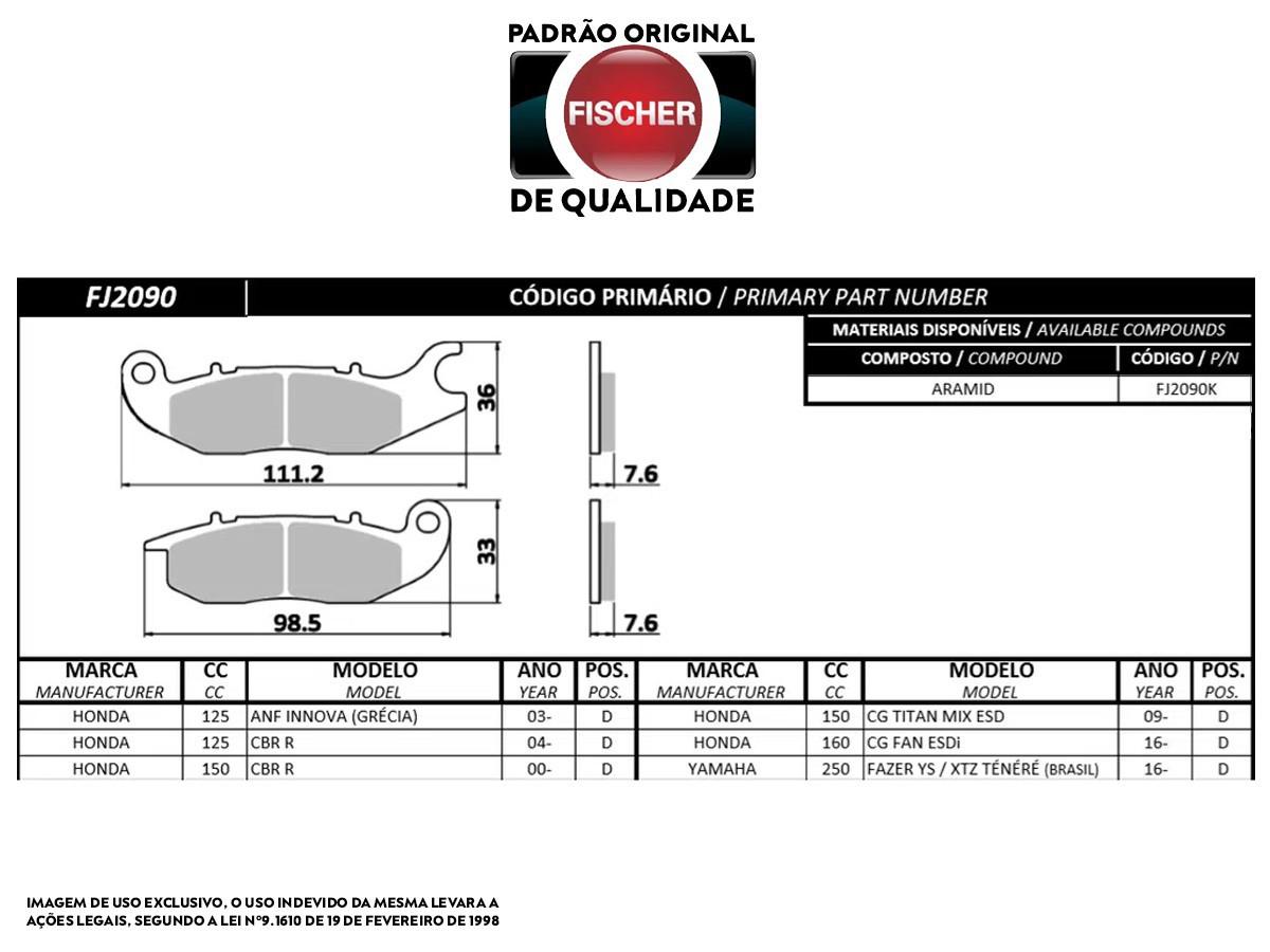 PASTILHA DE FREIO DIANTEIRO HONDA CBR 150R 2000/... ORIGINAL FISCHER(FJ2090)