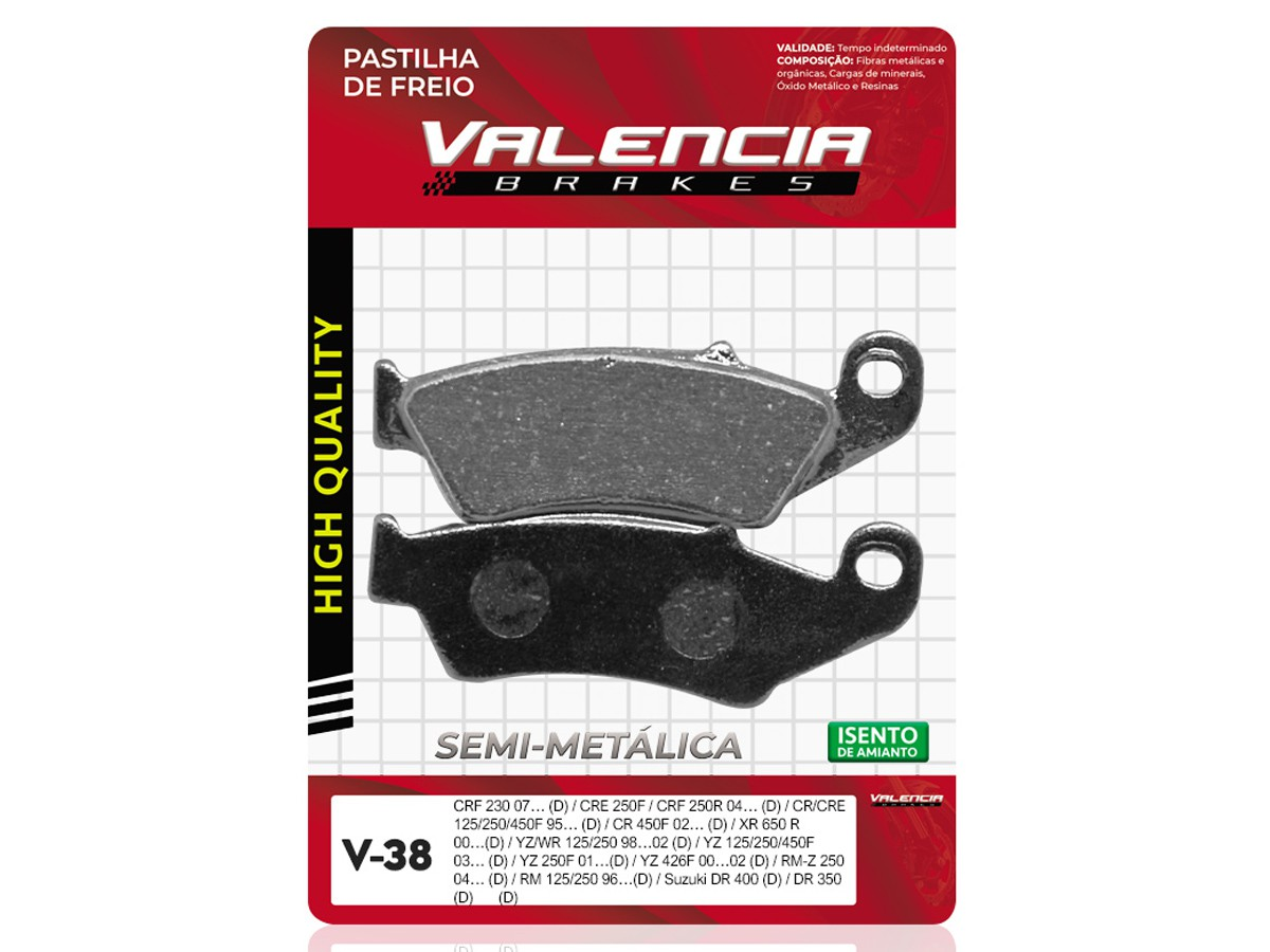 PASTILHA DE FREIO DIANTEIRO HONDA CR 125R 1995 A 2001 VALENCIA (V38-FJ0865)