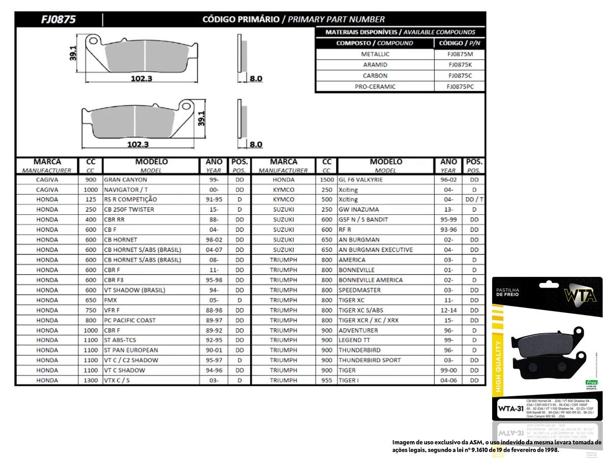 PASTILHA DE FREIO DIANTEIRO HONDA VT C SHADOW 1100CC 1994 A 1996 (FREIO DUPLO) (ORIGINAL WTA31-FJ0875)