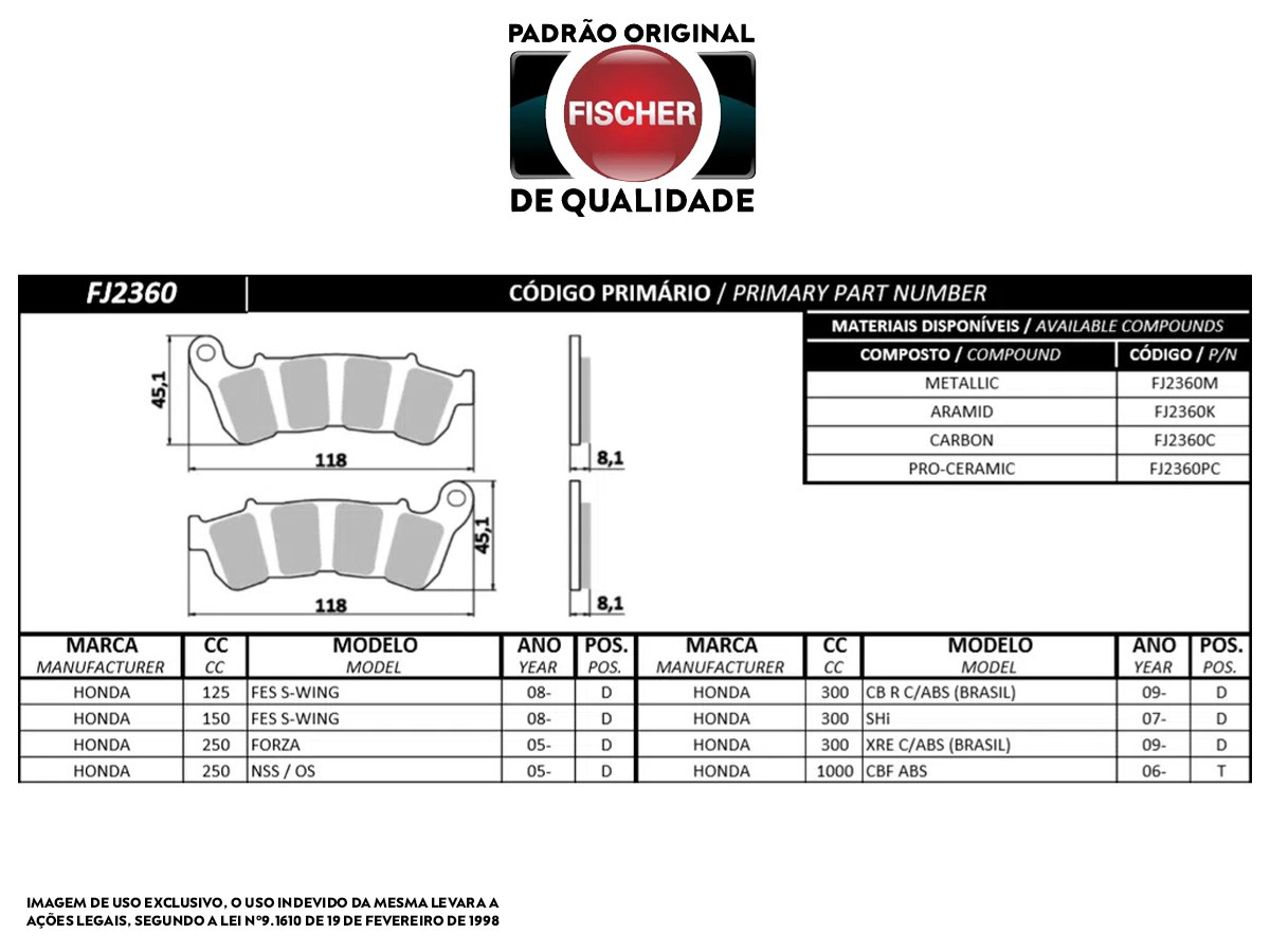 PASTILHA DE FREIO DIANTEIRO HONDA XL TRANSALP 700 C/ABS 2008/...(FREIO DUPLO) FISCHER(FJ2360)