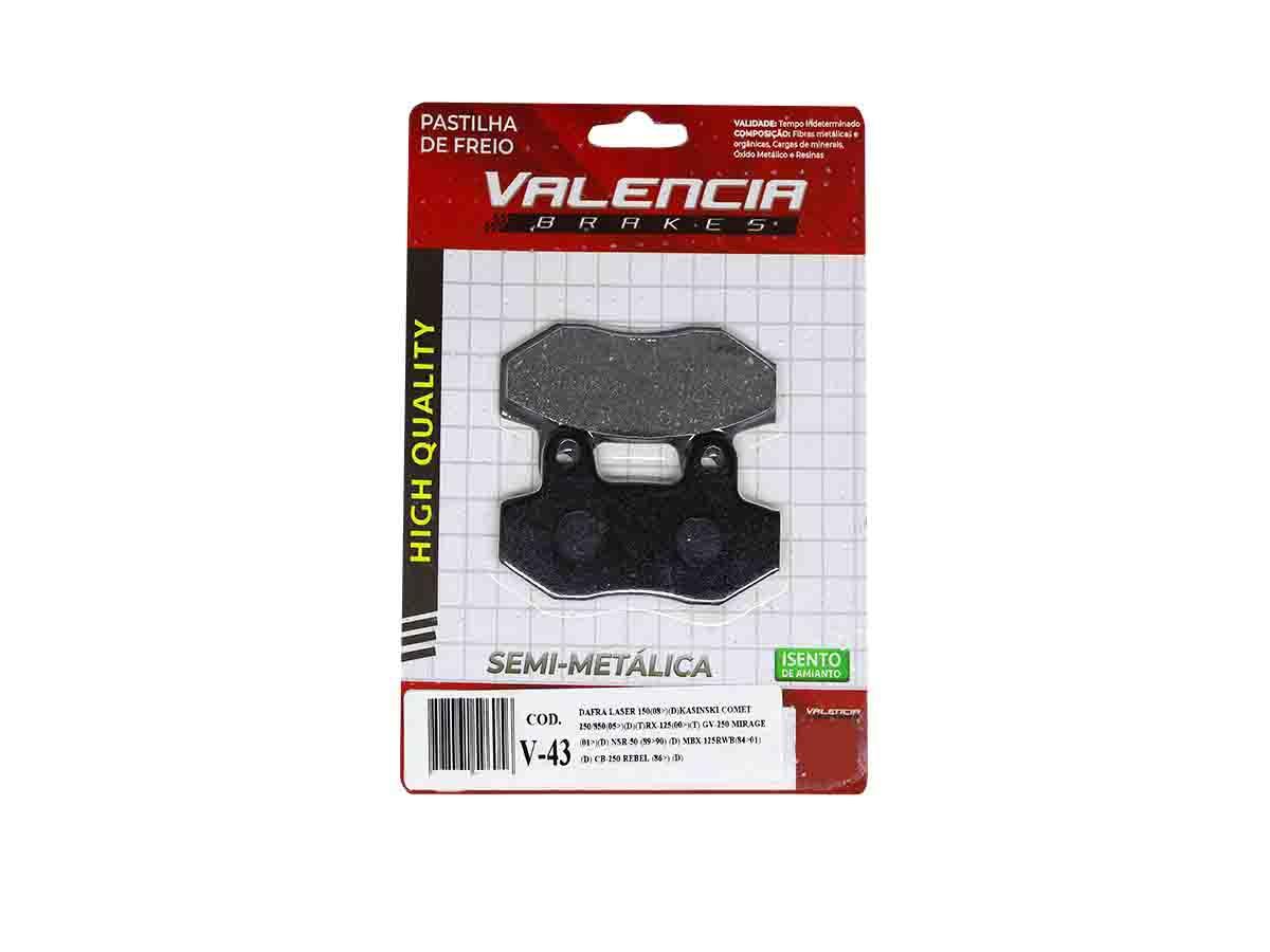 PASTILHA DE FREIO DIANTEIRO KYMCO SPIKE 125 2002/... VALENCIA (V43)