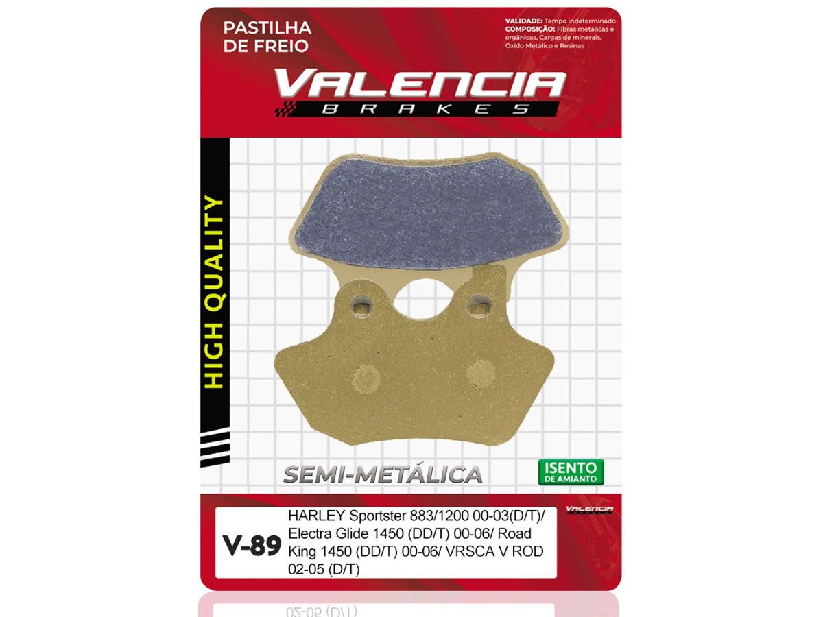 PASTILHA DE FREIO DIANTEIRO/TRASEIRO HARLEY DAVIDSON FLHTC ELECTRA GLIDE CLASSIC 1450CC 2000/...(DIANTEIRO DUPLO) VALENCIA (V89-FJ1820)