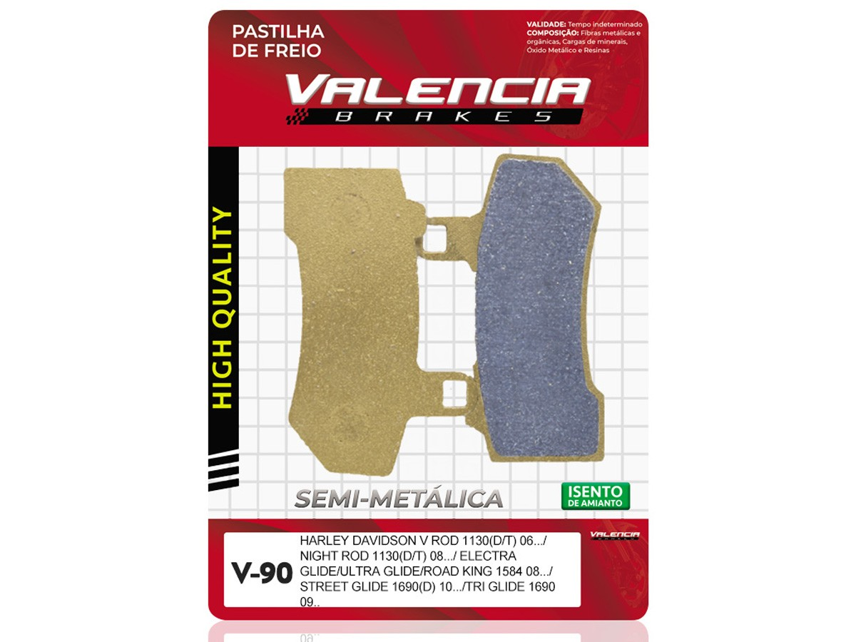 PASTILHA DE FREIO DIANTEIRO/TRASEIRO HARLEY DAVIDSON VRSCD NIGHT ROD SPECIAL 1130CC 2006/... VALENCIA (V90)