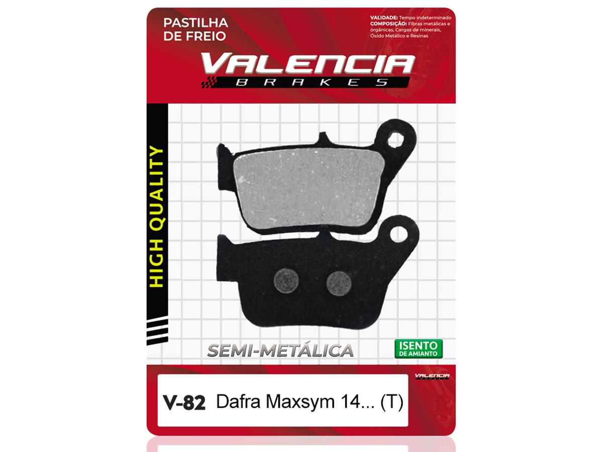 PASTILHA DE FREIO TRASEIRA DAFRA MAXSYM 400 (TODOS OS ANOS) VALENCIA (V82)
