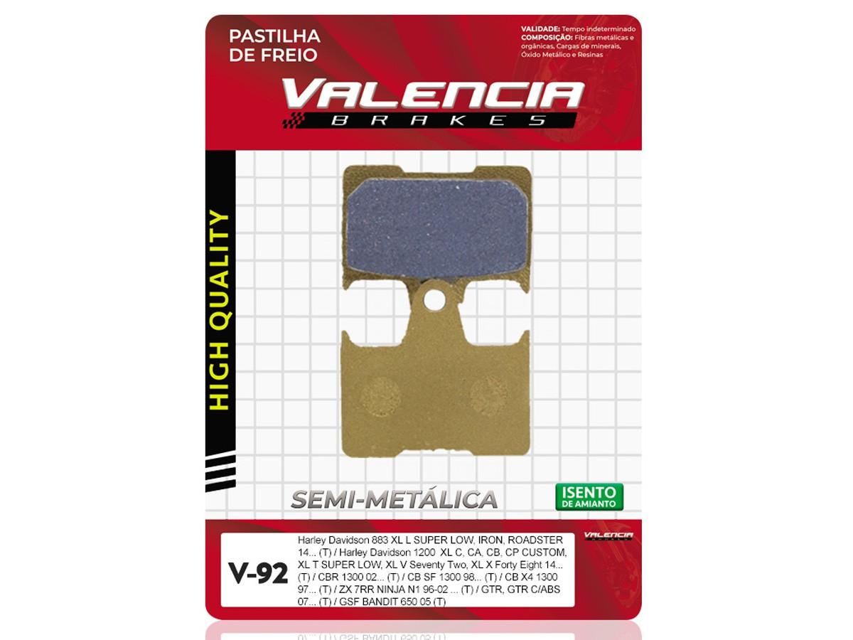 PASTILHA DE FREIO TRASEIRA HONDA CB 1300R 2002/... VALENCIA (V92-FJ1790)