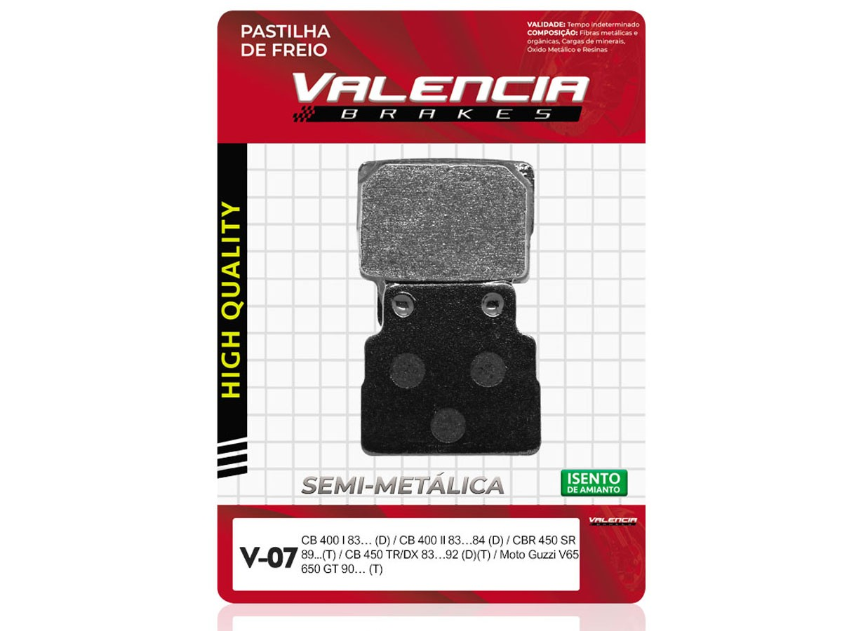 PASTILHA DE FREIO TRASEIRA HONDA CB 450 CUSTOM 1988/... VALENCIA (V07)