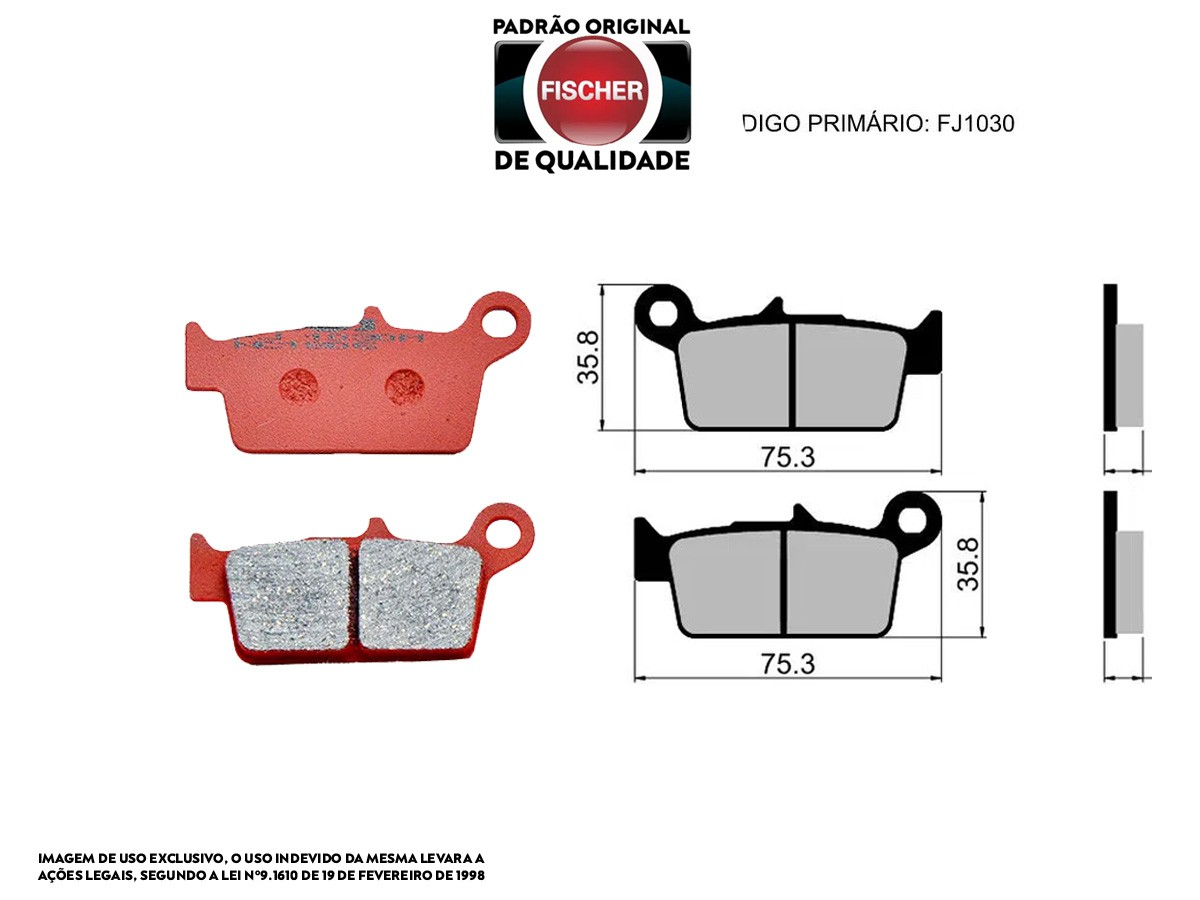 PASTILHA DE FREIO TRASEIRA HONDA XR R 250 1990 A 1995 ORIGINAL FISCHER(FJ1030)