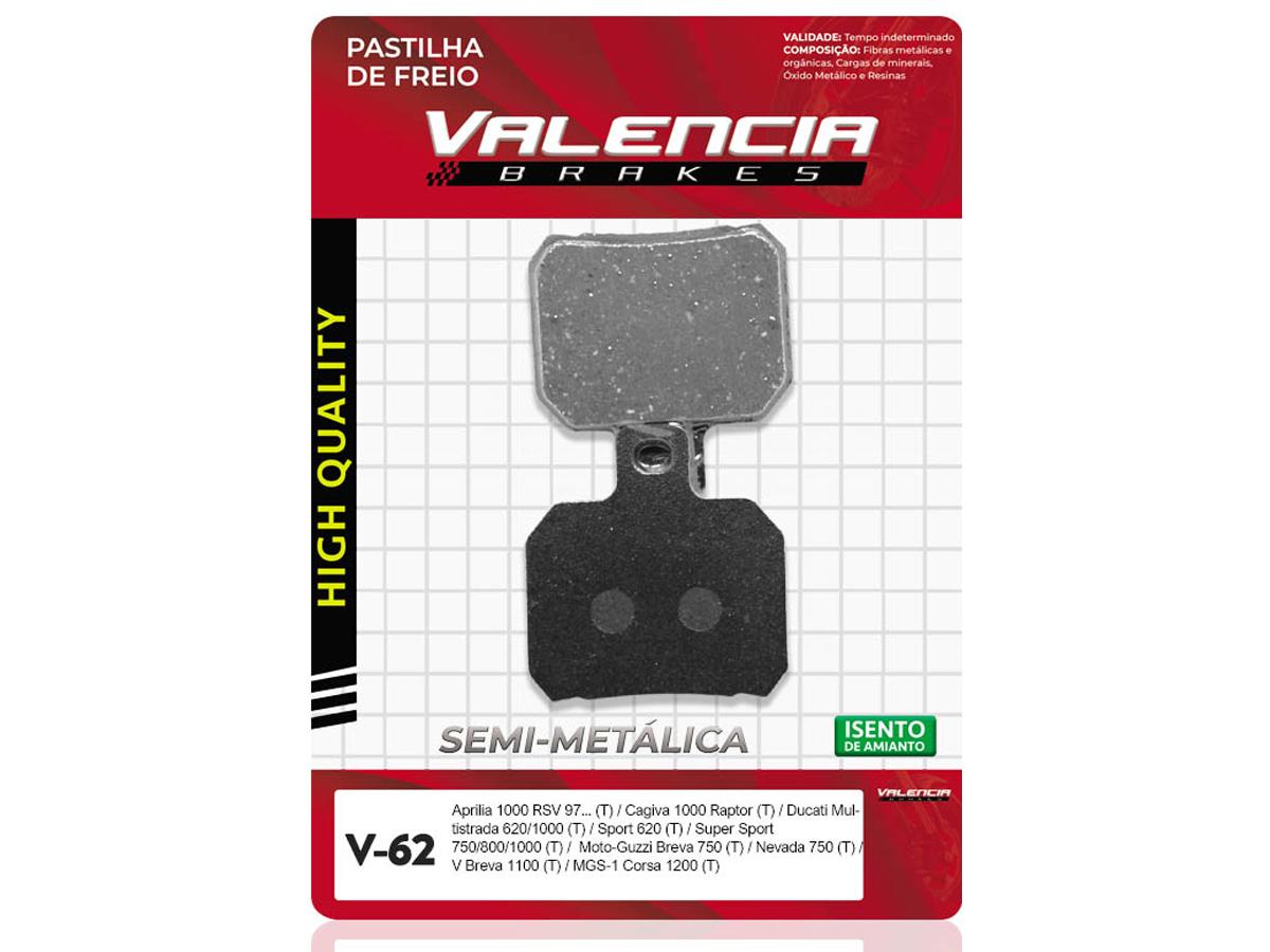 PASTILHA DE FREIO TRASEIRO APRILIA RSV MILLE NERA 1000CC 2004/... VALENCIA (V62)