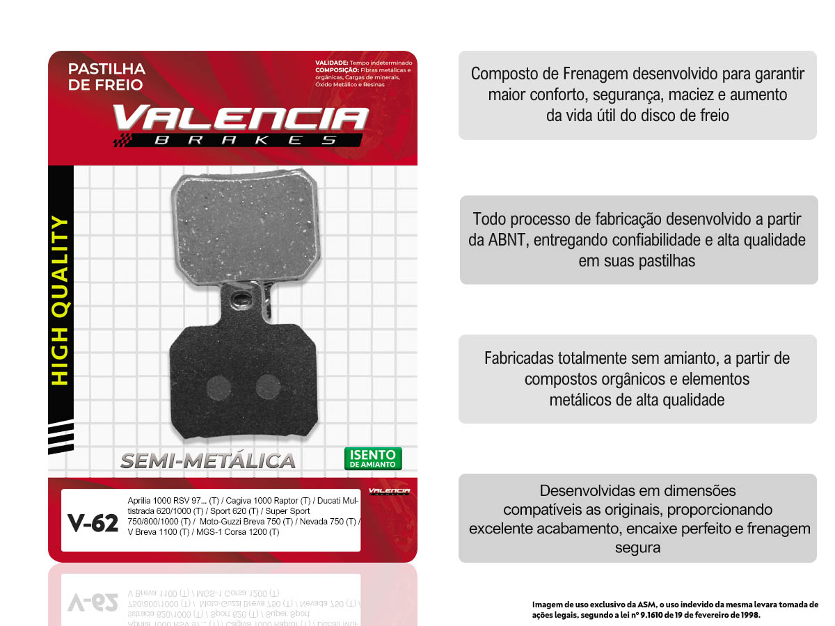 PASTILHA DE FREIO TRASEIRO APRILIA RSV MILLE R/SP 1000CC 2000/... VALENCIA (V62-FJ1770)