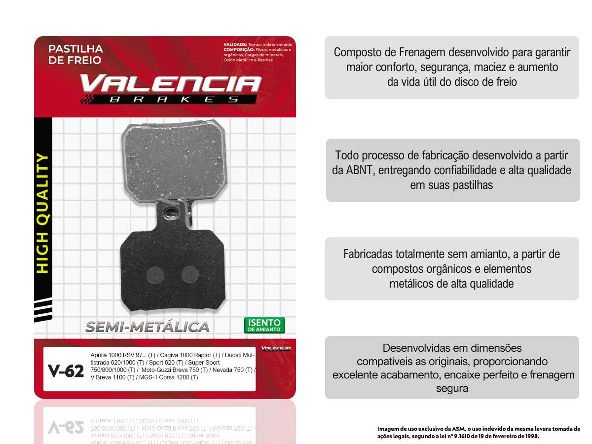 PASTILHA DE FREIO TRASEIRO APRILIA RSV MILLE SL FALCO/R 1000CC 2000/... VALENCIA (V62-FJ1770)