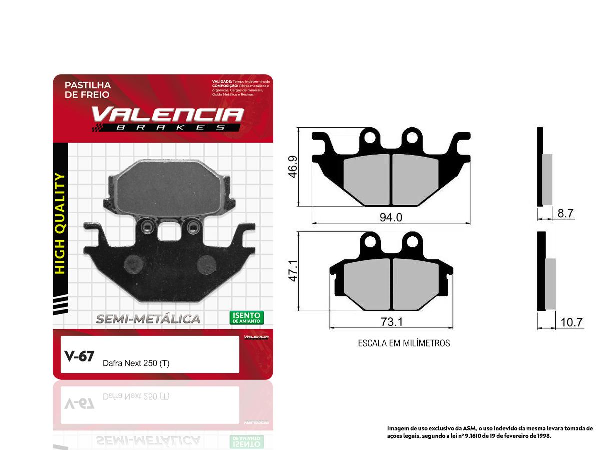 PASTILHA DE FREIO TRASEIRO DAFRA NEXT 250  VALENCIA (V67)