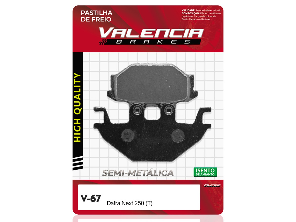 PASTILHA DE FREIO TRASEIRO DAFRA NEXT 250  VALENCIA (V67-FJ2520)