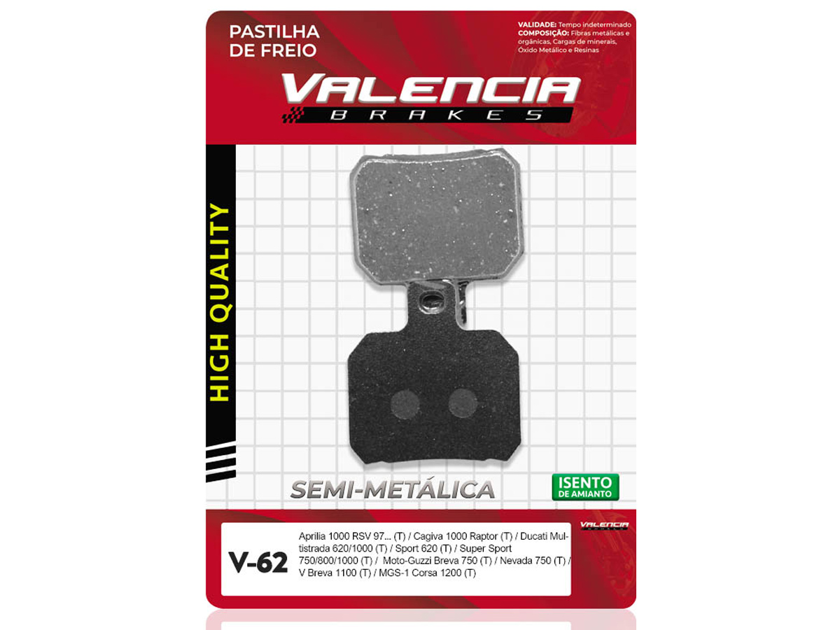 PASTILHA DE FREIO TRASEIRO DUCATI SPORT TOURING 4 916CC 1999 A 2001 VALENCIA (V62)