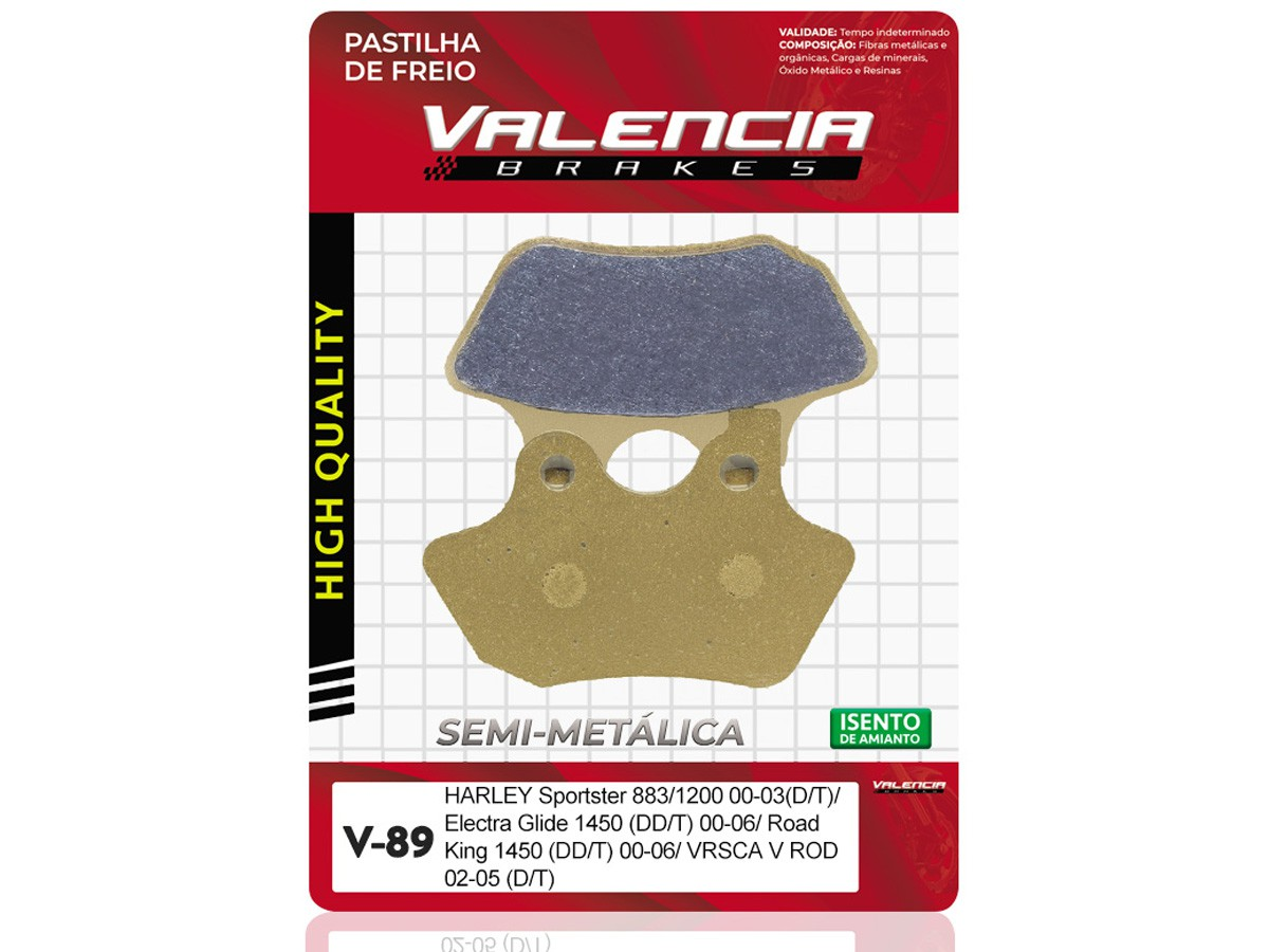 PASTILHA DE FREIO TRASEIRO HARLEY DAVIDSON FXSTSI SPRINGER SOFTAIL 1450CC 2000 A 2004 VALENCIA (V89-FJ1820)