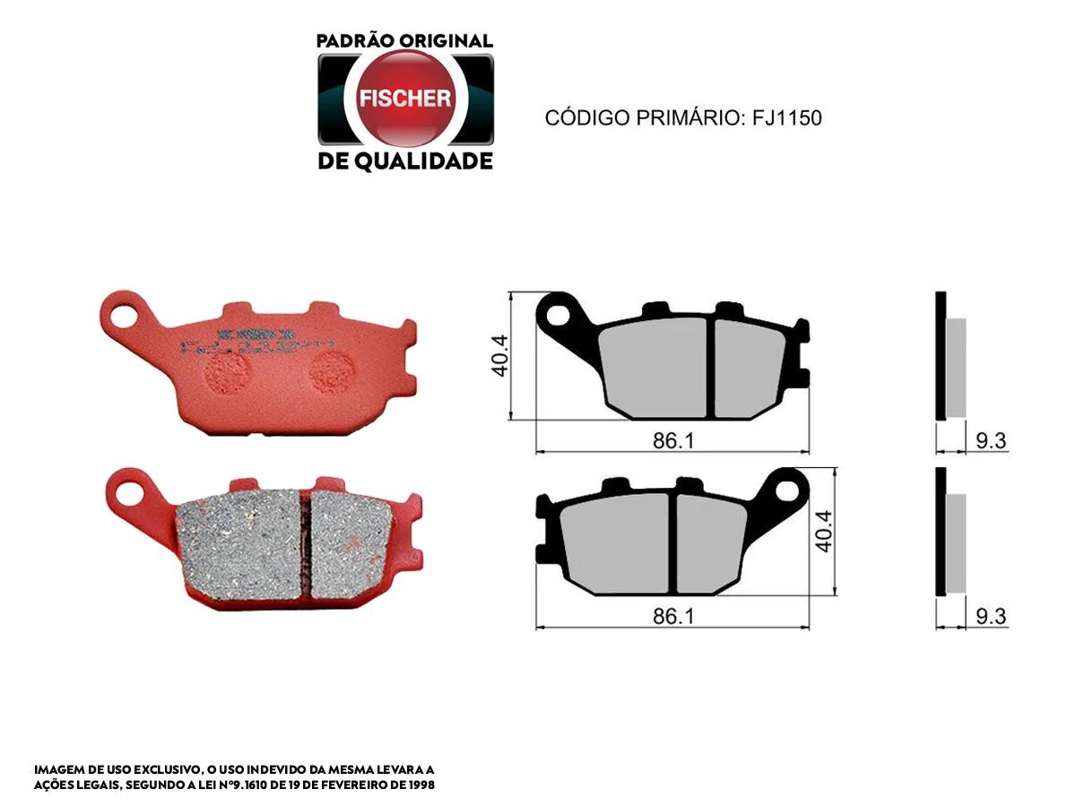 PASTILHA DE FREIO TRASEIRO HONDA CB 500F / CB 500F C/ABS 2004/... FISCHER(FJ1150)