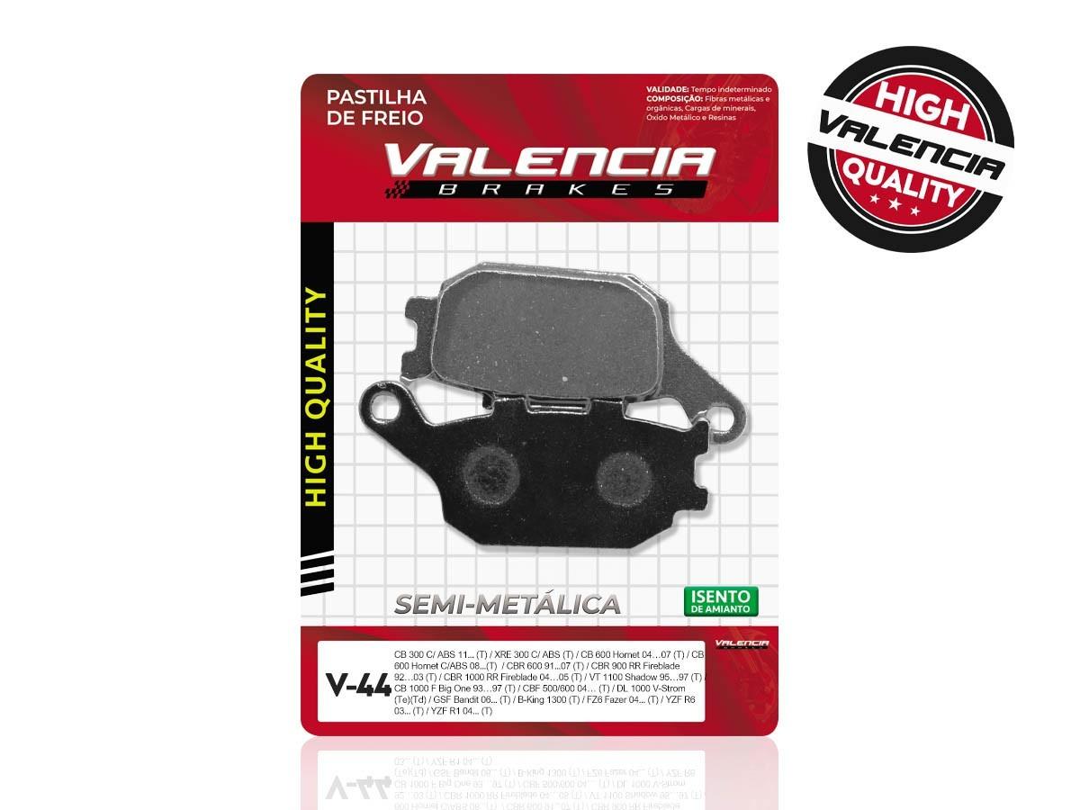 PASTILHA DE FREIO TRASEIRO HONDA CB HORNET 600 C/ABS 2008/... VALENCIA (V44-FJ1150)