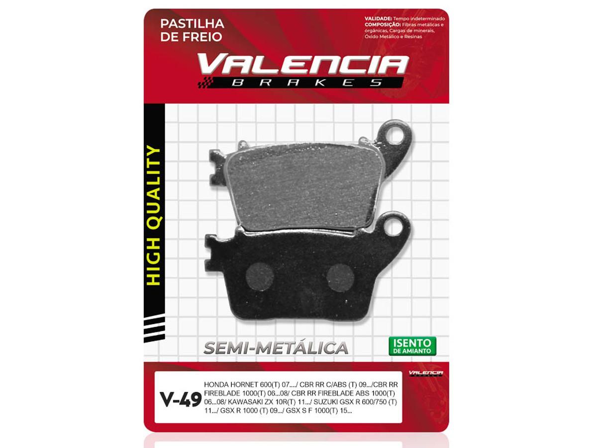 PASTILHA DE FREIO TRASEIRO HONDA CB HORNET 600 S/ABS 2008/... VALENCIA (V49-FJ2260)