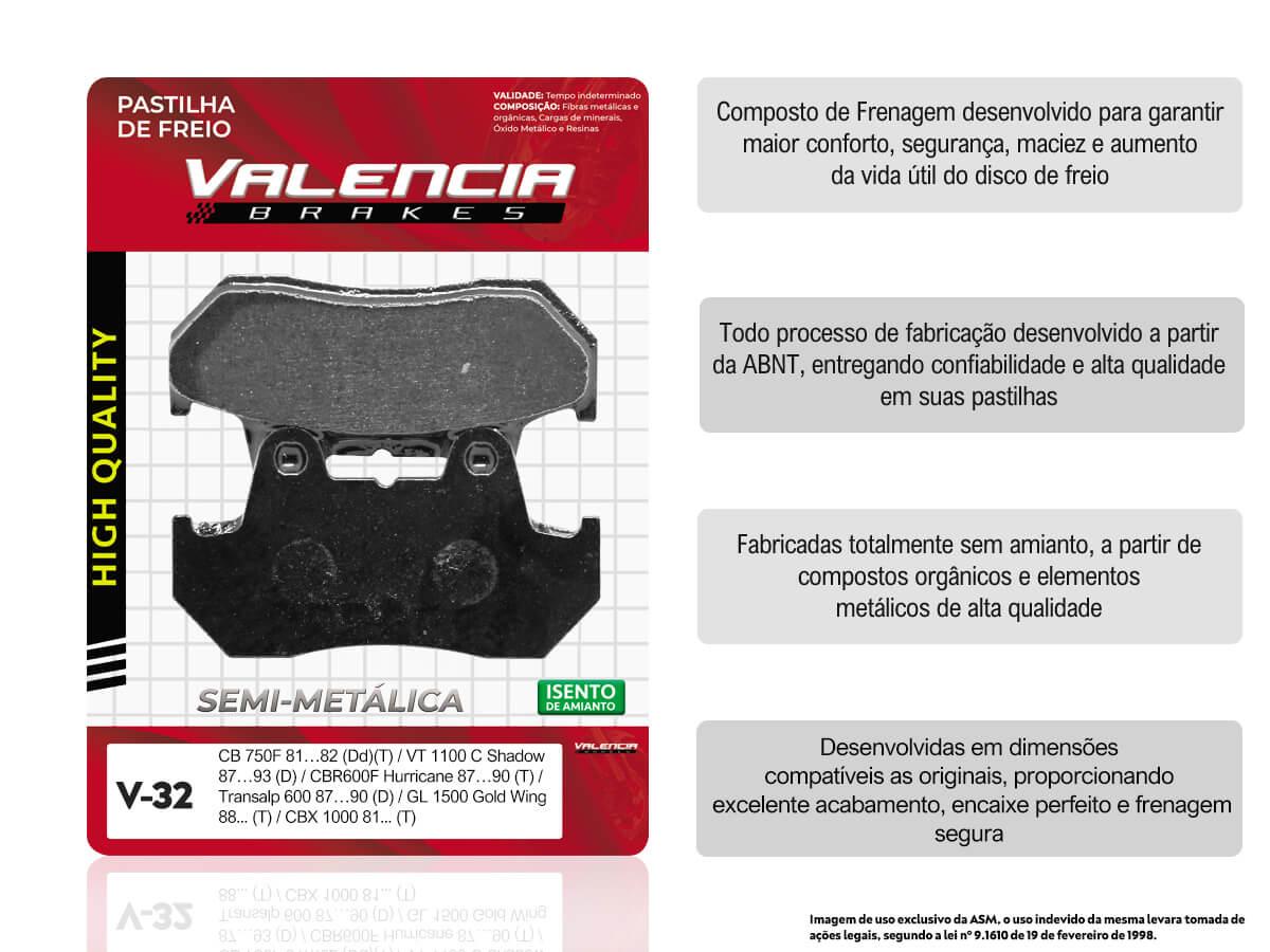 PASTILHA DE FREIO TRASEIRO HONDA CBR 600F HURRICANE 1987 A 1990 VALENCIA (V32-FJ0826)