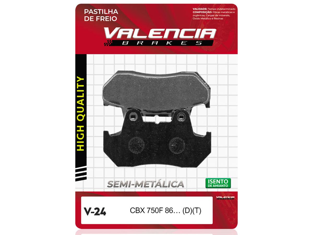 PASTILHA DE FREIO TRASEIRO HONDA CBX 750F GALO 1986/... VALENCIA (V24)