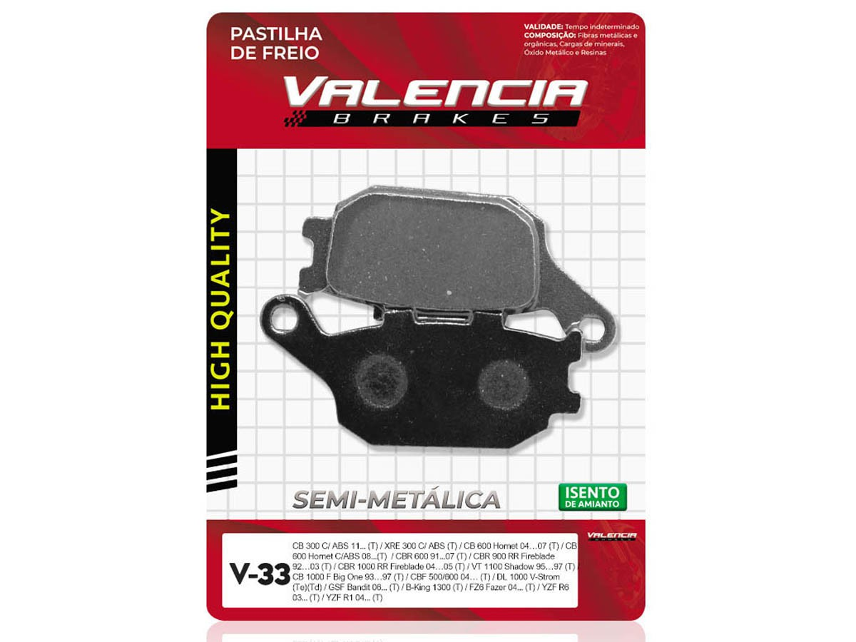 PASTILHA DE FREIO TRASEIRO SUZUKI GSF BANDIT 1250 C/ABS/GSF S BANDIT 1250 C/ABS 2007/... VALENCIA(V33-FJ1150)