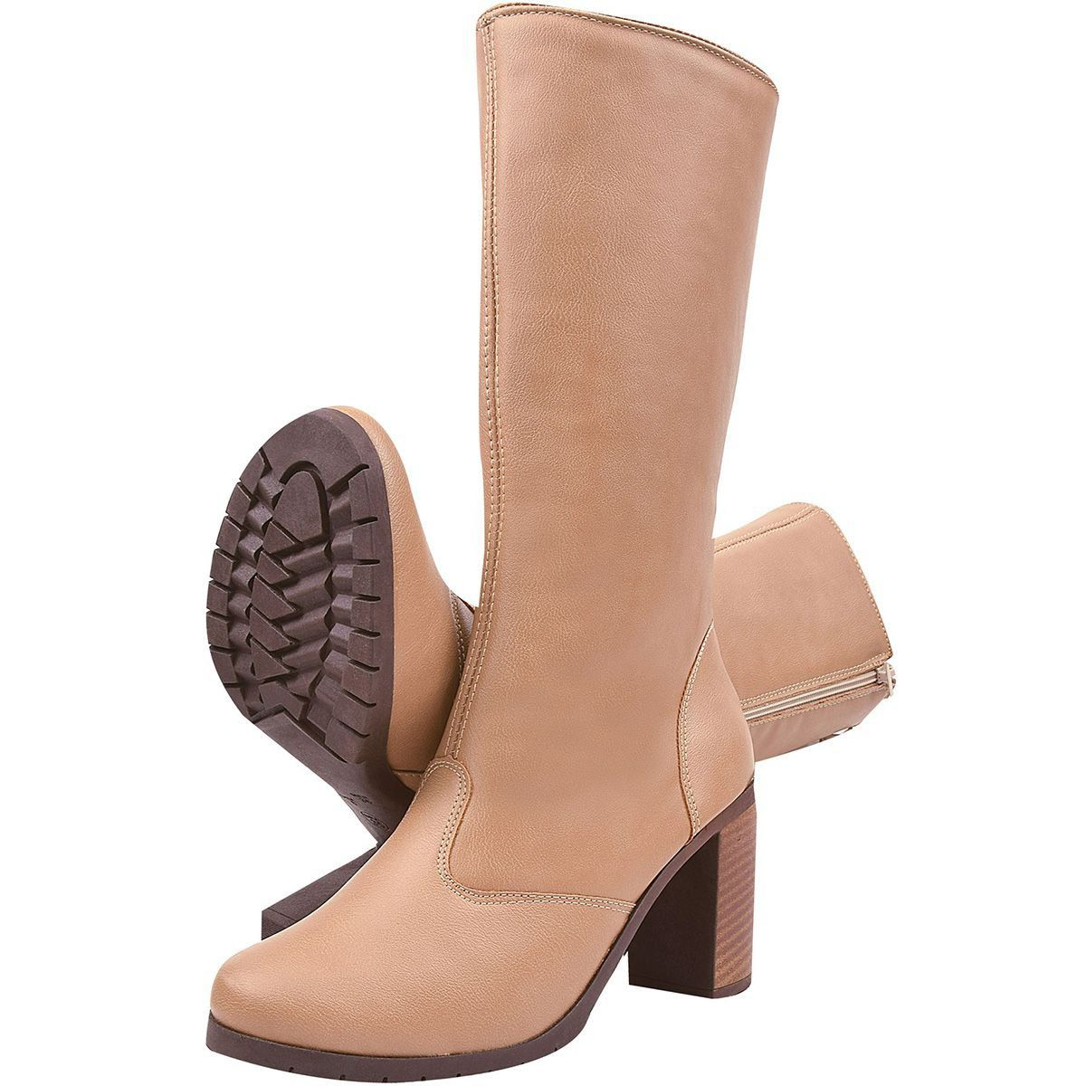 Bota Chiquiteira Salto Alto Cano Alto Light Tan SP