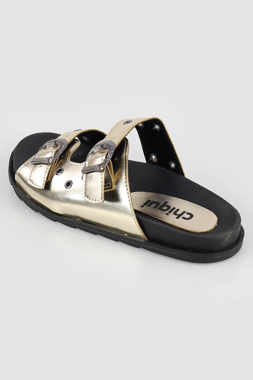 Chinelo Chiquiteira Slide Birking Ilhós Metalizado Ouro VIA