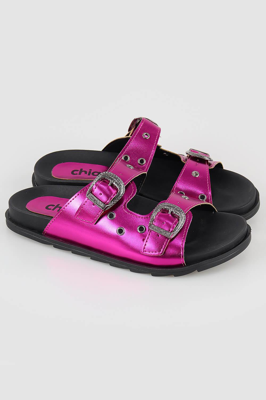 Chinelo Chiquiteira Slide Birking Ilhós Metalizado Pink VIA