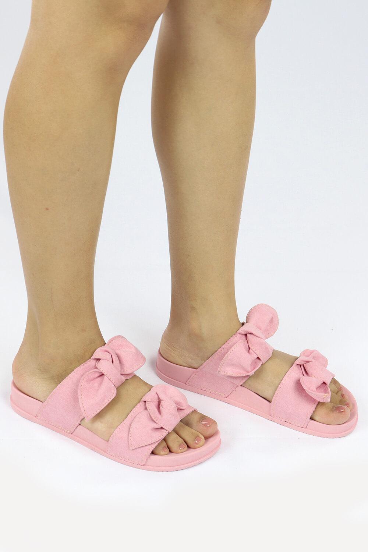 Chinelo Chiquiteira Slide Birking Laço Nó Suede Rosê VIA