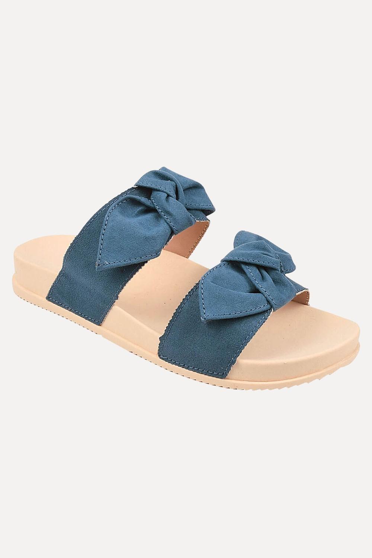 Chinelo Chiquiteira Slide Birking Laço Suede Creme/Azul VIA