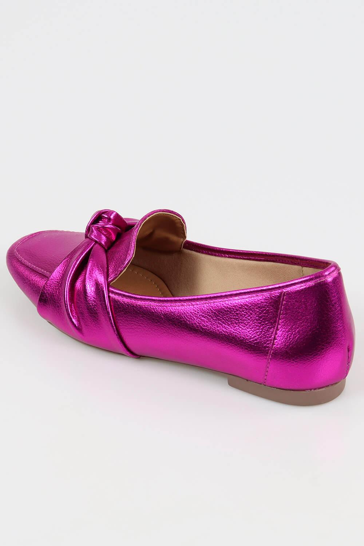 Mocassim Chiquiteira Bico Quadrado Nó Metalizado Pink MTN