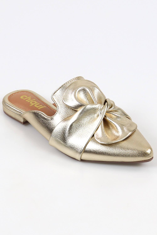 Mule Chiquiteira Bico Afinado Laço Metalizado Ouro MTN