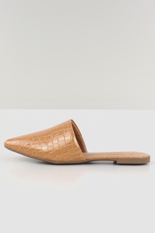 Mule Chiquiteira Bico Fino Croco Antique AC