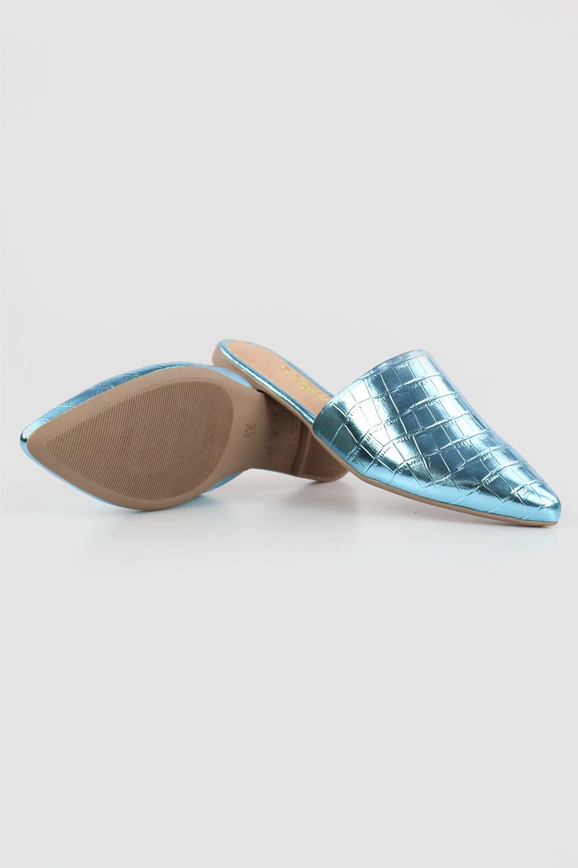 Mule Chiquiteira Bico Fino Croco Light Blue AC