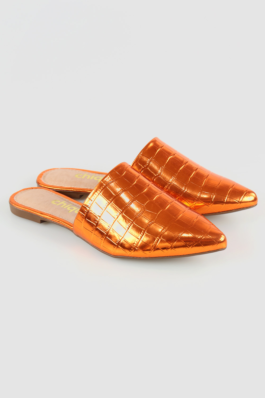 Mule Chiquiteira Bico Fino Croco Metálico Orange AC