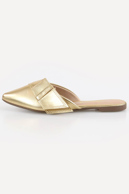 Mule Chiquiteira Bico Fino Laço Metalizado Ouro AC