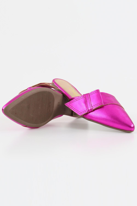 Mule Chiquiteira Bico Fino Laço Metalizado Pink AC