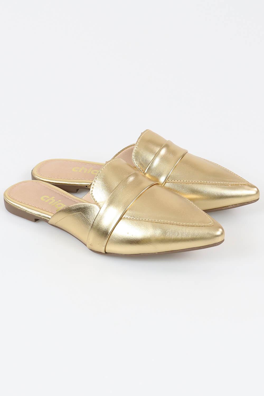 Mule Chiquiteira Bico Fino Tira Metalizado Ouro AC