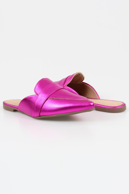 Mule Chiquiteira Bico Fino Tira Metalizado Pink AC