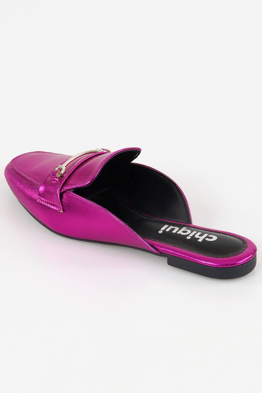 Mule Chiquiteira Bico Quadrado ABS Metalizado Pink MTN