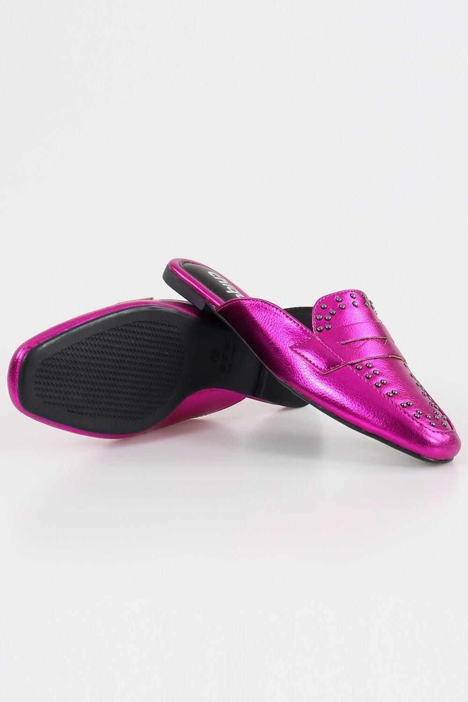 Mule Chiquiteira Bico Quadrado Pala Cravinho Metalizado Pink MTN