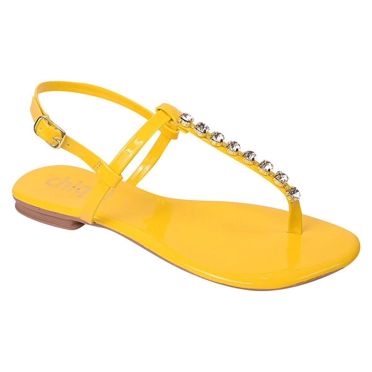 Rasteira Chiquiteira Strass Amarelo EC