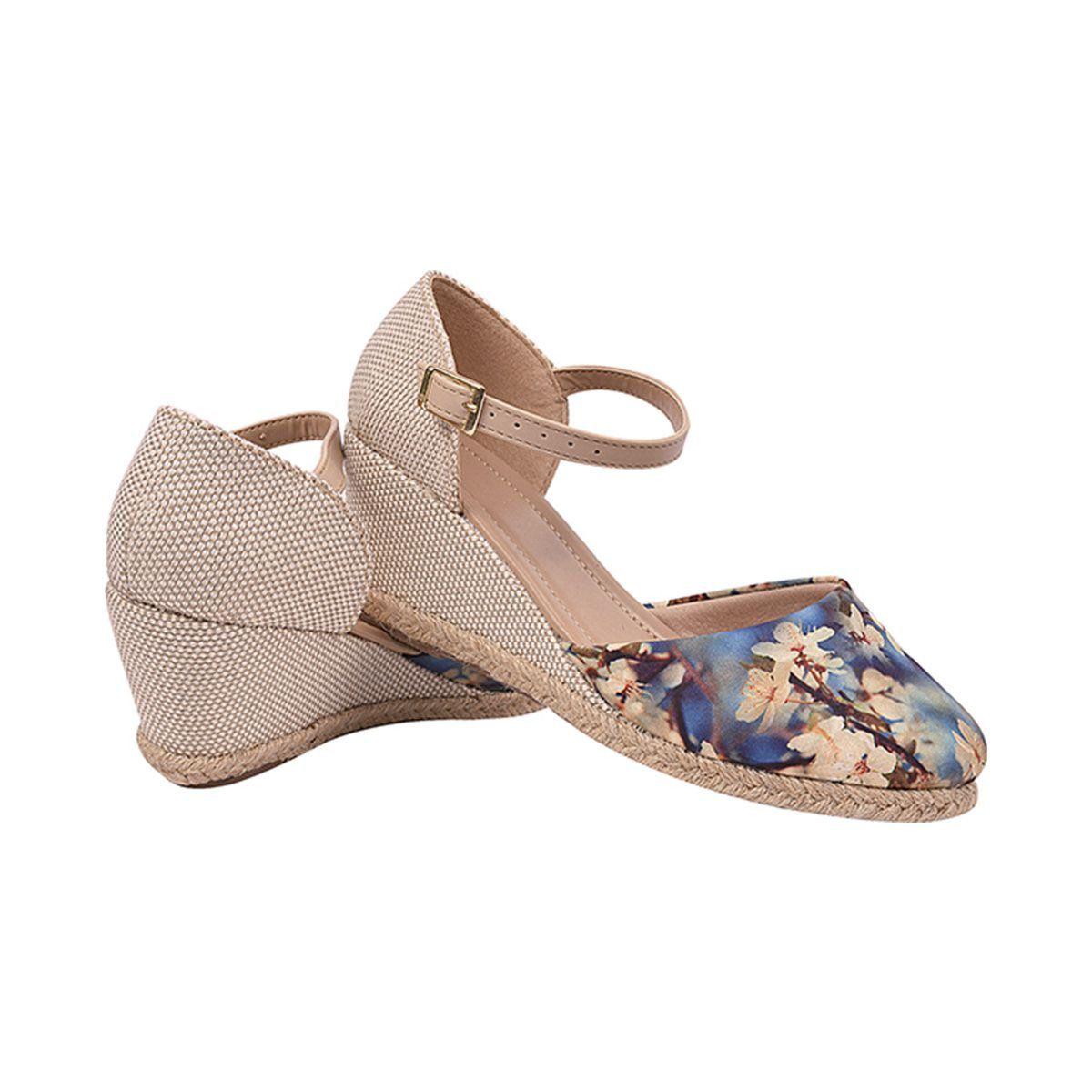 Sandália Chiquiteira Anabela Floral Azul CH