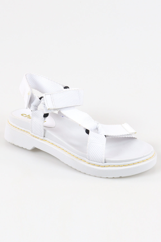Sandália Chiquiteira Papete Velcro Gorgurão Branco AC