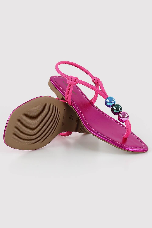 Sandália Chiquiteira Rasteira Bolas Colors Metalizado Pink ZOH