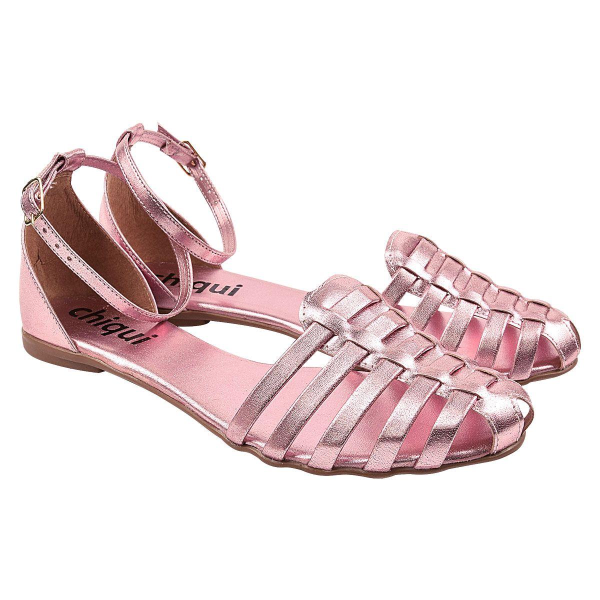 Sandália Chiquiteira Rasteira Huarache Metalizado Pink DON