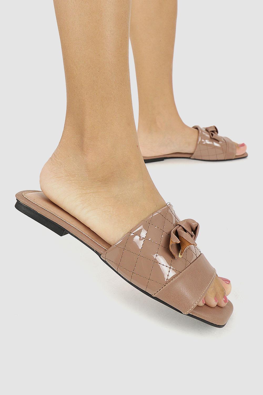 Sandália Chiquiteira Rasteira Laço Tira Verniz Brown/Santorine Brown AC