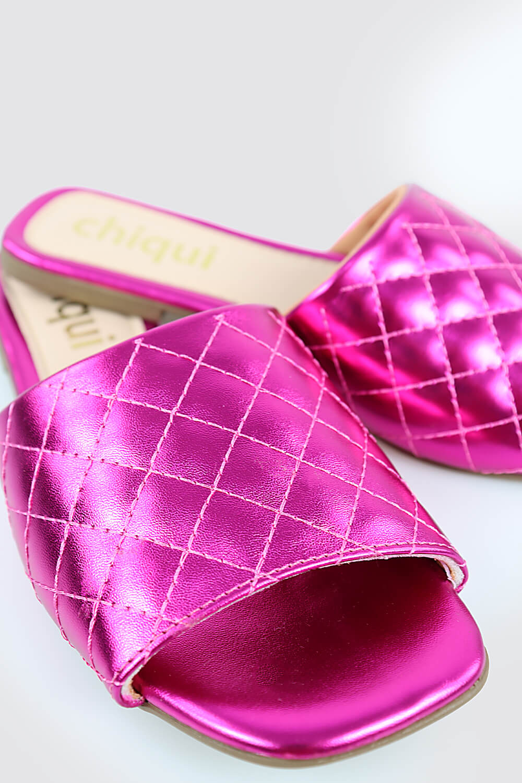 Sandália Chiquiteira Rasteira Matelassê Metalizado Pink STP