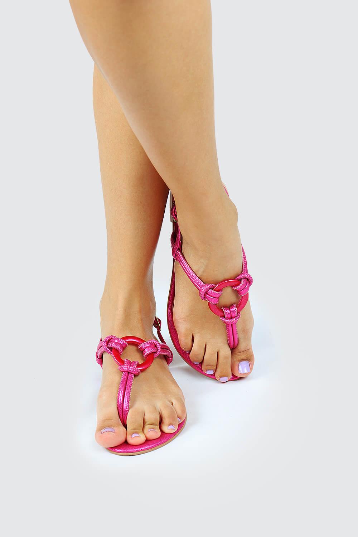 Sandália Chiquiteira Rasteira Roletê ABS Metalizado Pink TI
