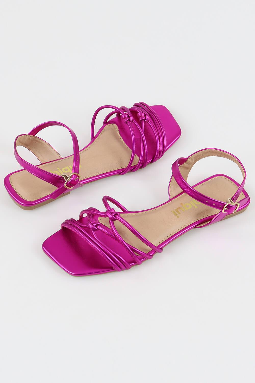 Sandália Chiquiteira Rasteira Tira Nó Metalizado Pink AC