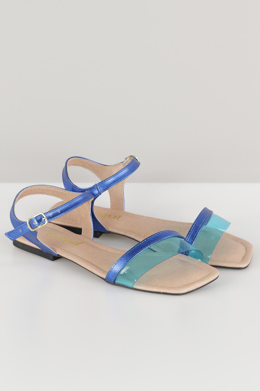 Sandália Chiquiteira Rasteira Tira Transparente Napa Royal/Azul AC